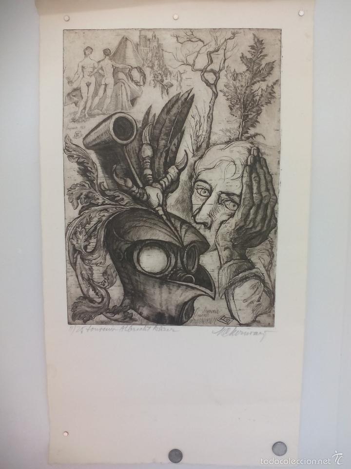 Arte: Grabado de título ' souvenir Albrech Dürer' desconozco el autor, es el 11 de 25. - Foto 2 - 56146762