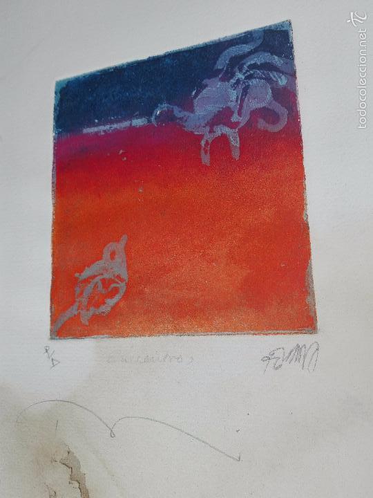 Arte: INTERESANTE GRABADO AGUAFUERTE - OBRA TITULADA ENCUENTRO - P/A - FIRMADO - 96 - - Foto 3 - 56150928