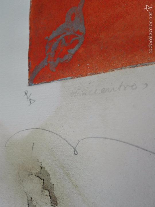 Arte: INTERESANTE GRABADO AGUAFUERTE - OBRA TITULADA ENCUENTRO - P/A - FIRMADO - 96 - - Foto 4 - 56150928