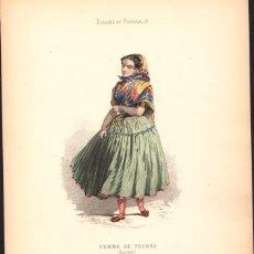 Arte: GRABADO ANTIGUO SIGLO XIX: MUJER DE TOLOSA (VIZCAYA) CA. 1850. Lote 56160733