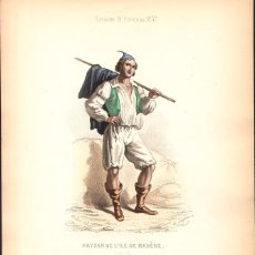 Arte: GRABADO ANTIGUO SIGLO XIX: AGRICULTOR DE LA ISLA DE MADEIRA. CA. 1850. Lote 56161216