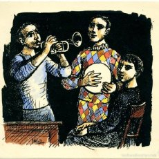Arte: GRABADO COLOREADO A MANO DE MIGUEL IBARZ. FELICITACIÓN DE NAVIDAD, 1955, CON DEDICATORIA DEL PINTOR . Lote 56167476