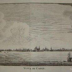 Arte: ANTIGUO GRABADO. S.XVIII. VISTA DE CADIZ. 1790.. Lote 56279912