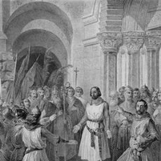 Arte: GRABADO AL ACERO 1860, FEDERICO MADRAZO, GODOFREDO DE BOUILLÓN REY DE JERUSALÉN, INFOLIO. CRUZADAS. Lote 56280731