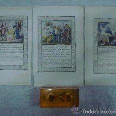 Arte: 3 GRABADOS DEL ANTIGUO TESTAMENTO ILUMINADOS A MANO. SIGLO XVIII. 22 X 14 CM.. Lote 56400991