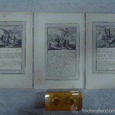 Arte: 3 GRABADOS DEL ANTIGUO TESTAMENTO ILUMINADOS A MANO. SIGLO XVIII. 22 X 14 CM.. Lote 56401030