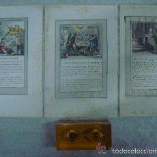 Arte: 3 GRABADOS DEL ANTIGUO TESTAMENTO ILUMINADOS A MANO. SIGLO XVIII. 22 X 14 CM.. Lote 56401039