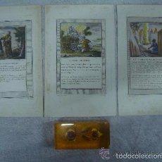 Arte: 3 GRABADOS DEL ANTIGUO TESTAMENTO ILUMINADOS A MANO. SIGLO XVIII. 22 X 14 CM.. Lote 56401056
