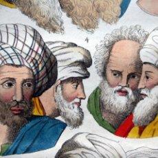 Arte: 1840 - GRABADO - EGIPTO - EGIPCIOS - CABEZAS - COLOREADO A MANO - ILUMINADO. Lote 56403252