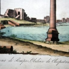 Arte: 1840 - EGIPTO - GRABADO OBELISCO DE CLEOPATRA - COLUMNA DE POMPEO - COLOREADO A MANO - ILUMINADO. Lote 56404789