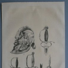 Arte: 1854 - CASCO - ESPADAS - ARTILLERIA - GRABADO - GRAVURE - ENGRAVING. Lote 56405012