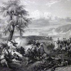 Arte: GRABADO AL ACERO 1860, HORACE VERNET, COMBATE O BATALLA DEL RÍO HABRAH (1835), INFOLIO. ARGELIA. Lote 56658889