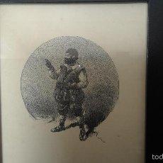 Arte: GRABADO ORIGINAL,ENMARCADO EN 16X21CM DON QUIJOTE / SANCHO.PERTENECE QUIJOTE 1ª ED.MONTANER SIMON. Lote 56714068