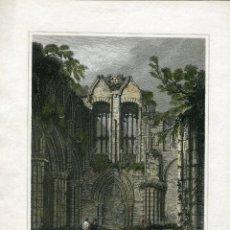 Arte: HOLYROOD CHAPEL, GRABADA POR J.GREIG. DIBUJÓ: L. CLENNELL. Lote 56825609