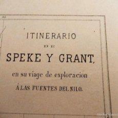 Arte: GRABADO, S. XIX, ITINERARIO FUENTES DEL NILO. Lote 56849466