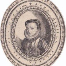 Arte: GRABADO SIGLO XVI ANNA SIBILA FUGGER, DE DOMINICUS CUSTOS FLANDES AMBERES AÑO 1593. Lote 56923170