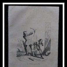 Arte: 1853 - SITIO DE GIBRALTAR Y ARQUEROS DE 1350 - GRABADO - ENGRAVING - GRAVURE - 243X155 MM. Lote 57041025