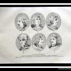 Arte: 1852 -6 REYES DE ESPAÑA - GRABADO - ENGRAVING - GRAVURE - 243X155 MM. Lote 57041294