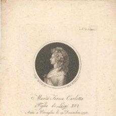 Arte: GRABADO DE MARIA TERESA CARLOTTA, HIJA DE LUIS XVI REY DE FRANCIA, POR PIETRO FONTAMA S. XVIII. Lote 57061110