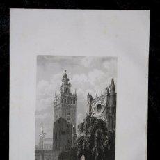Arte: 1853 - LA GIRALDA EN SEVILLA - GRABADO - ENGRAVING - GRAVURE - 243X160 MM. Lote 57082287
