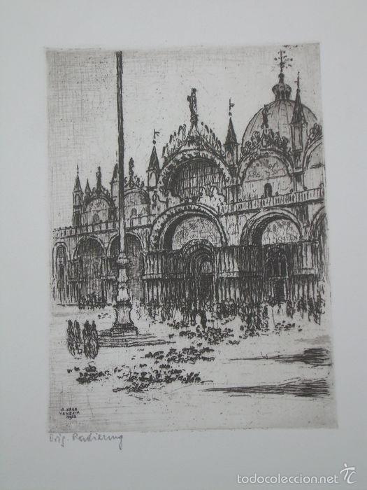 plaza de san marcos de venecia, grabado de béla - Comprar Grabados ...