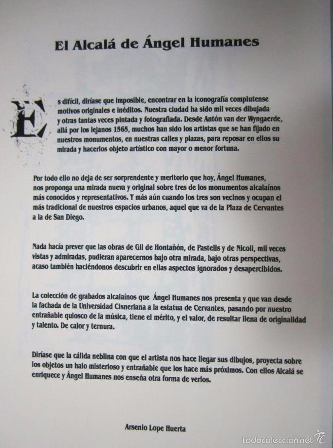 Arte: ESTAMPAS DE ALCALÁ - GRABADOS DE ÁNGEL HUMANES - CARPETA CON 3 GRABADOS NUMERADOS Y FIRMADOS - Foto 3 - 57357445
