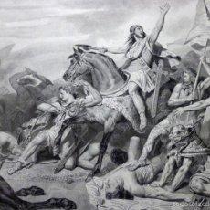 Arte: GRABADO AL ACERO DE 1860, ARY SCHEFFER, BATALLA DE TOLBIAC (496), INFOLIO. CLODOVEO, FRANCOS. ARTE. Lote 57371074