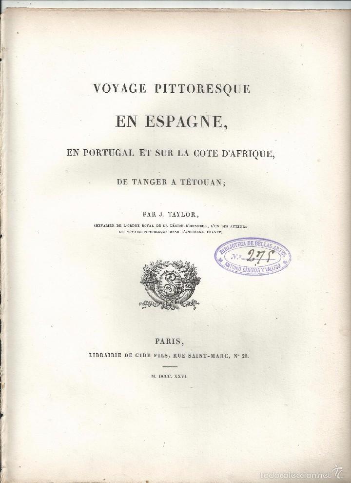 Arte: TORRE ELEVADA EN LOS ANTIGUOS CAMINOS MOROS. J. TAYLOR. PARIS 1826 1ª EDICIÓN - 22x29 cm. - Foto 3 - 57527825