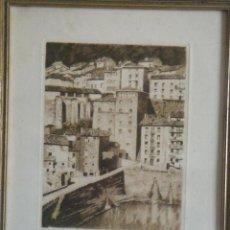 Arte: 3 GRABADOS DE PIERRE LABROUCHE: MOTRICO, PUENTE LA REINA Y TOROS. Lote 57604934