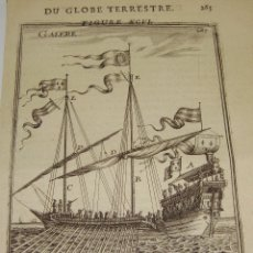 Arte: GRABADO DEL S.XVIII. DU GLOBE TERRESTRE. FIGURE XCVI. GALERE.. Lote 57606759