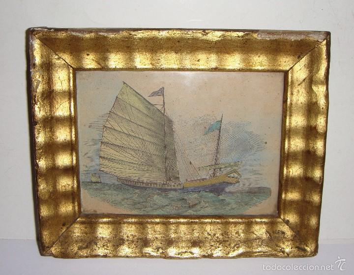 antiguo grabado en miniatura. s.xix. barco orie - Comprar Grabados ...