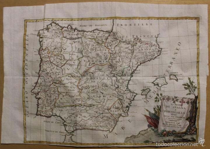 MAPA DE ESPAÑA Y PORTUGAL, 1796. ANTONIO ZATTA (Arte - Grabados - Antiguos hasta el siglo XVIII)