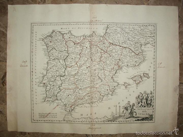 MAPA DE ESPAÑA Y PORTUGAL, 1750. DE LISLE Y ALBRIZZI (Arte - Grabados - Antiguos hasta el siglo XVIII)
