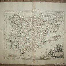 Arte: MAPA DE ESPAÑA Y PORTUGAL, 1750. DE LISLE Y ALBRIZZI. Lote 58068175