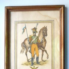 Arte: GRABADO MILITAR ENMARCADO MEDIADOS SIGLO XIX - LANCIER ROUGE DE LA GARDE IMPERIALES 1815. Lote 58094761