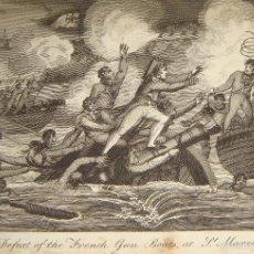 Arte: GRABADO S.XVIII. DERROTA DE LOS BARCOS DE GUERRA FRANCESES EN ST. MARCON.. Lote 58116393
