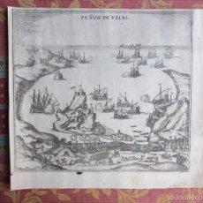 Arte: 1572-PEÑÓN DE VELEZ DE LA GOMERA.CEUTA-MELILLA.BRAUN-HOGENBERG.CIVITATES ORBIS.GRABADO ORIGINAL. Lote 58156535