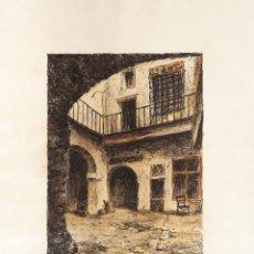 Arte: GRABADO LITOGRÁFICO DE C. SCHELLER: 'L'HOSTAL DE LA BONA SORT' TIRAJE 10 / 27. C. 1910. 55 X 43 CM.. Lote 58245259
