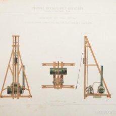 Arte: GRABADO CROMO-LITOGRAFICO DE F. CANQUOIN SEGÚN DIBUJO DE E. CAPPEAU.'TRAVAUX HYDROLIQUES MARITIMES' . Lote 58264041