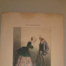 Arte: C. 1850 - GRABADO ILUMINADO A MANO DE EPOCA - CHAM - LES MADELEINES. Lote 47494594