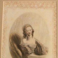 Arte: GRABADO FIRMADO GAVARNI SIGLO XIX PARIS - COLECCION LUJO BORDE TROQUELADO ENCAJE – GONET - JOYAS. Lote 58404625