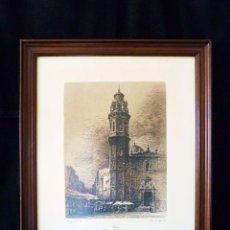 Arte: ERNEST FURIÓ. GRABADO ENMARCADO. CAMPANAR DE SANT VALERI I PARADES DEL MERCAT DE RUSSAFA. VALENCIA. Lote 58549181