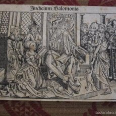 JUICIO DE SALOMON. GRABADO INCUNABLE PROCEDENTE DE LA CRONICA DE NUREMBERG. AÑO 1493