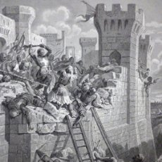 Arte: GRABADO AL ACERO 1860, DOMINIQUE PAPETY, CAÍDA DE SAN JUAN DE ACRE (1291), INFOLIO. CRUZADAS, ARTE. Lote 58658176