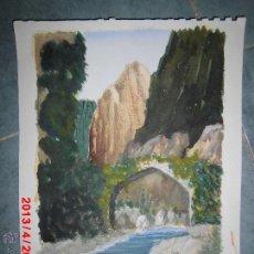Arte: ACUARELA FIRMADA J. MARTINEZ CON ANOTACION MANUSCRITA PICOS DE EUROPA. Lote 43019457