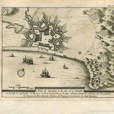 Arte: GERONA. PLANO DE ROSES & DU FORT DE LA TRINITÉ. GRABADO POR PIETER VAN DER AA EN 1707. Lote 59605351