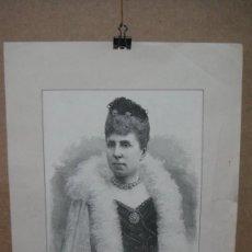Arte: LA REINA MARIA CRISTINA - GRABADO DE SAMPIETRO - DIBUJO DE LUIS PALAO. Lote 59806980
