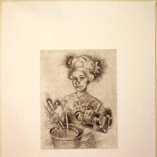 """Arte: """"COCINERA"""", GRABADO ORIGINAL PUNTA SECA, FIRMADO Y NUMERADO (28/40), DE MARCOS PALAZZI, SERIE LIMITA. Lote 59919251"""