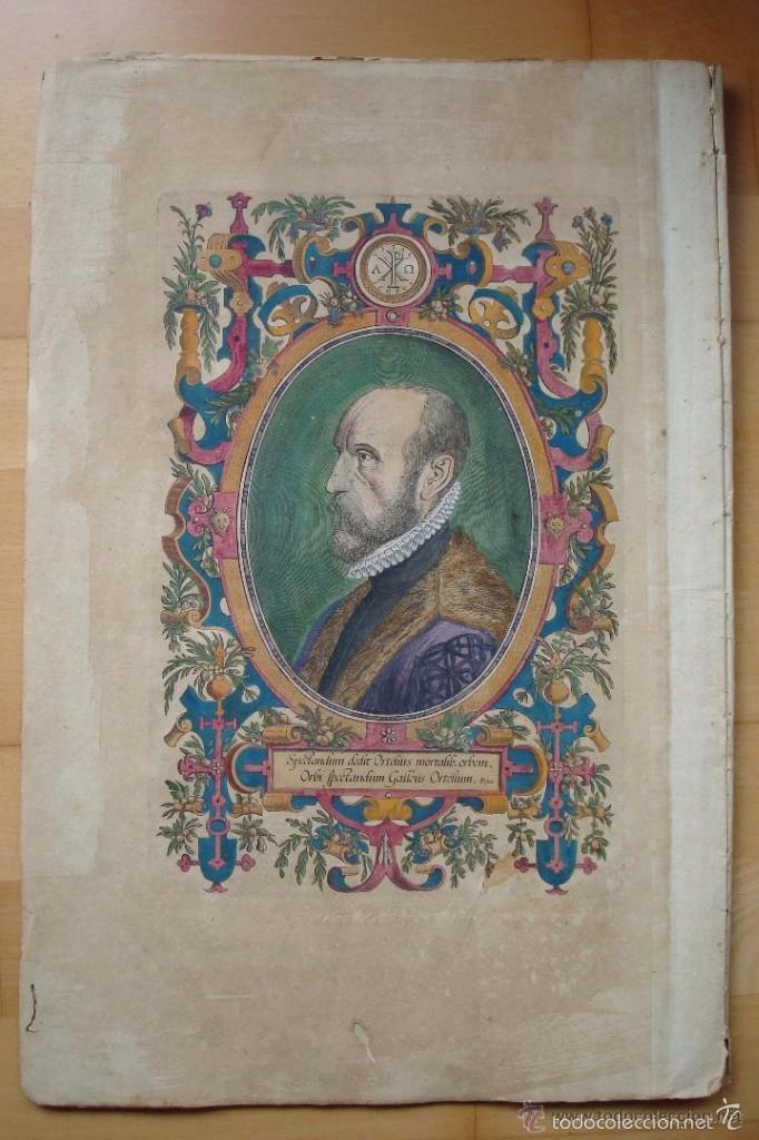 ORTELIUS RETRATO GRABADO COLOREADO ÉPOCA (Arte - Grabados - Antiguos hasta el siglo XVIII)