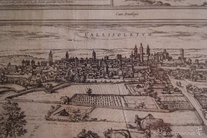 Arte: GRABADO DOBLE VALLADOLID Y TOLEDO MAPA CIUDADES 1572 - 1618 LIBRO BRAUN HOGENBERG - Foto 3 - 60272443